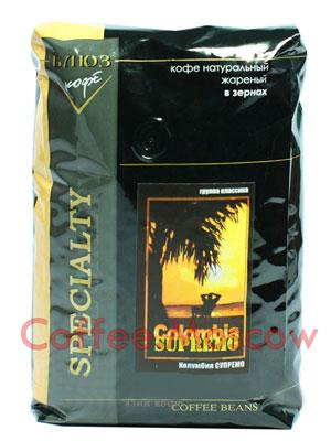 Кофе Блюз Colombia Supremo в зернах 1 кг