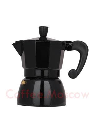 Гейзерная кофеварка Hot черная 3 порции (120 мл)