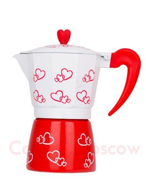 Гейзерная кофеварка Hot с сердечками 6 порций (240 мл)