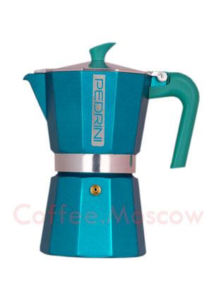 Гейзерная кофеварка Pedrini на 6 порции (240 мл) Бирюзовая