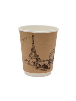 Стакан бумажный ThermoCup двухслойный 250 мл Города мира Крафт