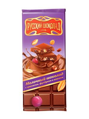 Шоколад Русский шоколад Молочный с арахисом, фундуком и изюмом 85 гр