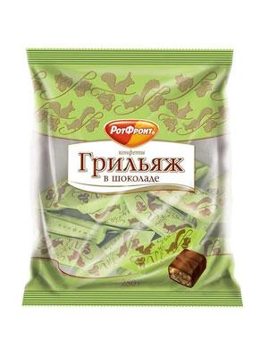 Конфеты Рот Фронт Грильяж в шоколаде 250 гр