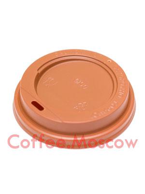 Крышка для бумажных стаканов Мокко с питейником 90 мм (Коричневая)