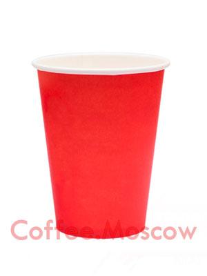 Стакан бумажный однослойный 250 мл Красный