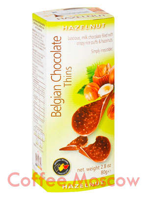 Шоколадные чипсы Belgian Chocolate Thins Лесной орех 80 гр