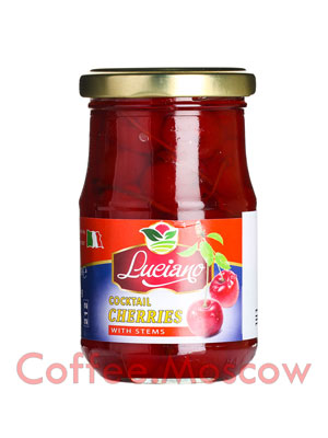 Коктейльная вишня Luciano Красная с черенками 225 мл