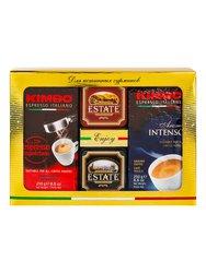 Подарочный набор Kimbo 2 кофе по 250 г и чай Estate 2 по 45 г